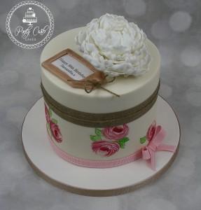 Vintage Handpainted Peony Birthday Cake.