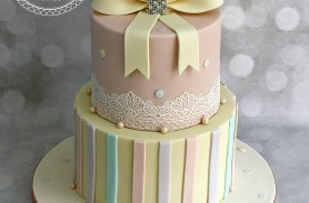 Vintage Pastel Crystal Bow 2 Tier Birthday Cake With Lace And Pearls