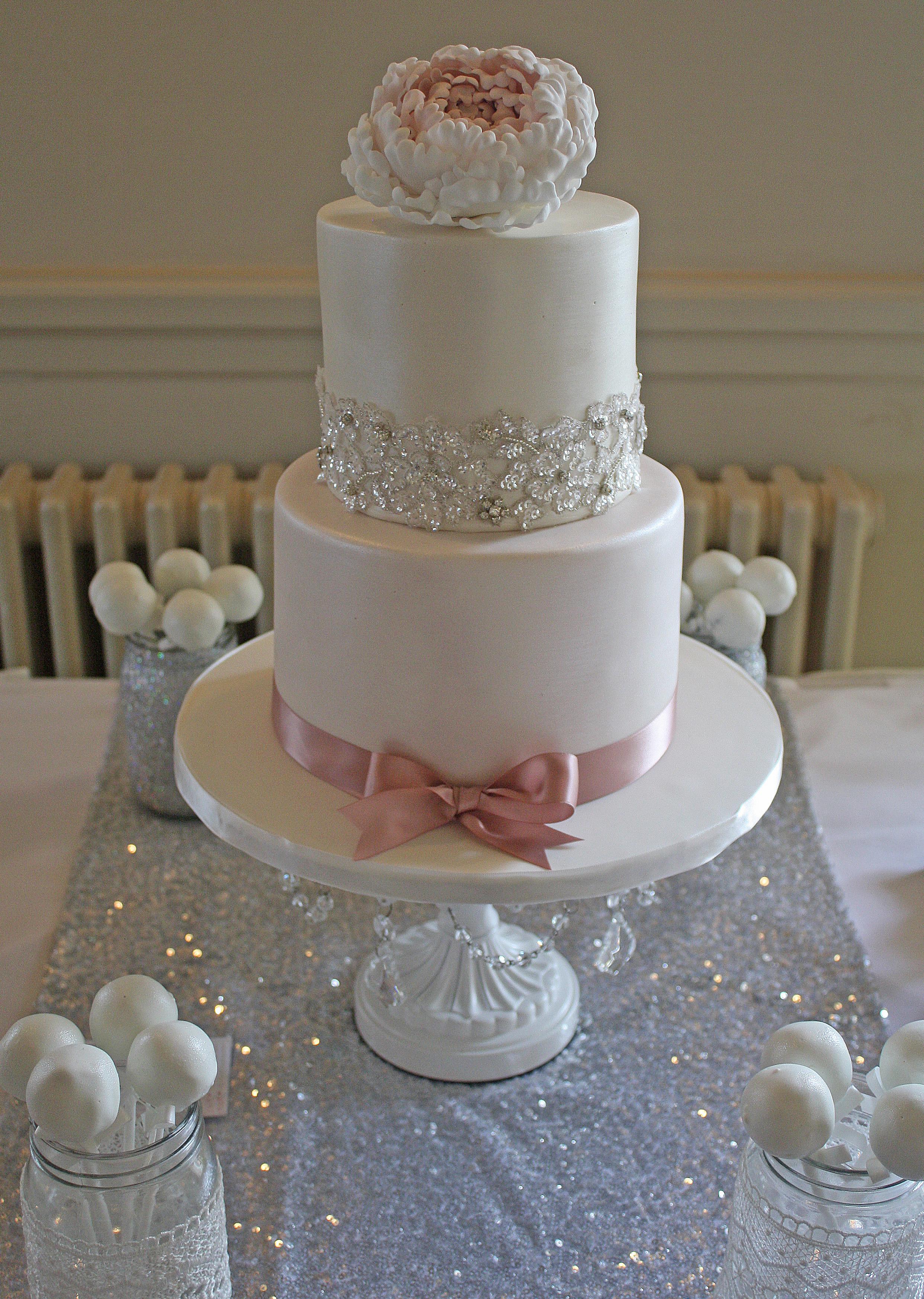 Vintage Blush Pink Peony 2 Tier Sparkly Wedding Cake
