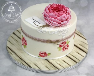Vintage Handpainted Rose,Lace And Peony Birthday Cake.