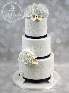 Vintage Peony,Rose,Lily & Hydrangea Handpiped Lace 3 Tier Wedding Cake .