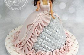 Silver And Pink Ruffle Sparkly Doll Birthday Cake