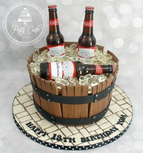 Budweiser Beer Barrel Birthday Cake.