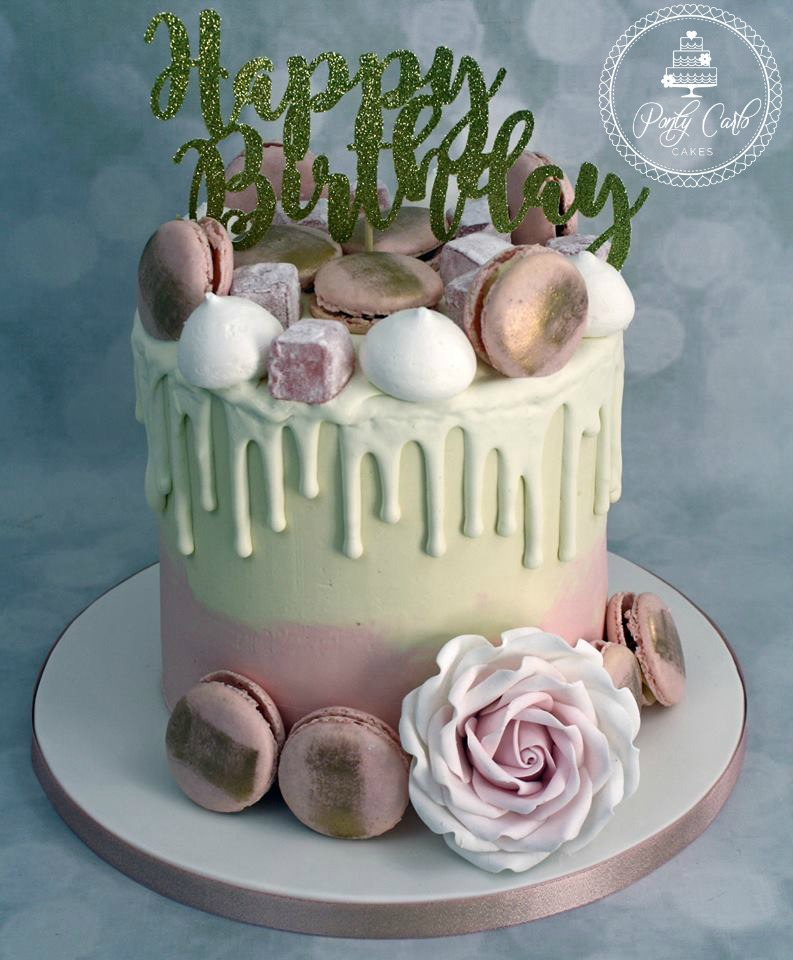 Birthday Cake With Macarons