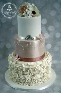 Rose Gold Ruffle 3 Tier Wedding Cake.