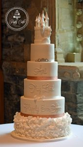 6 Tier Princess Castle,Ruffled Happily Ever After Wedding Cake.