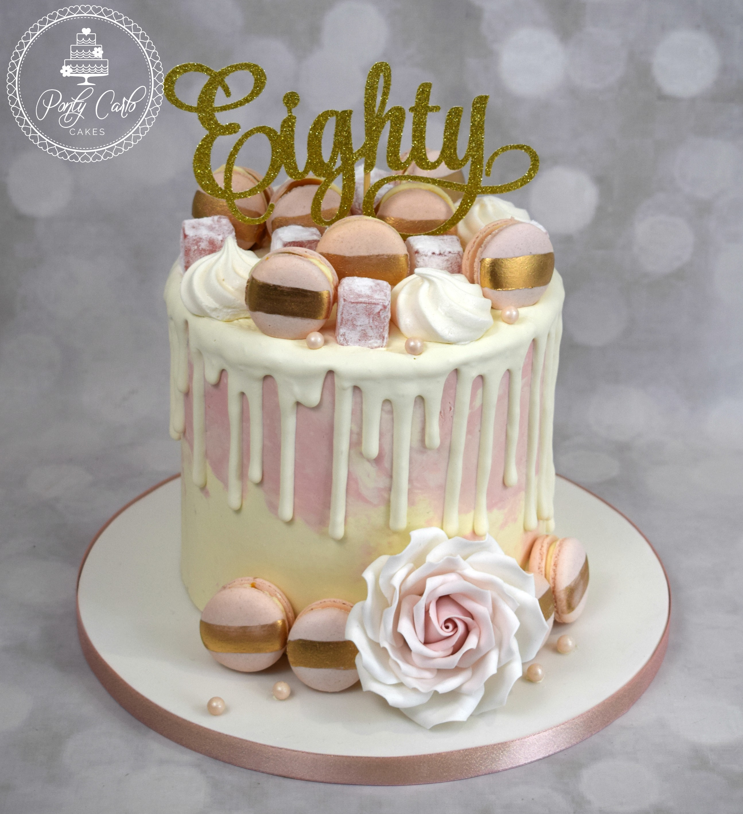 Chocolate Drip Birthday Cake With Handmade Gold Brushed Macarons And Turkish Delight