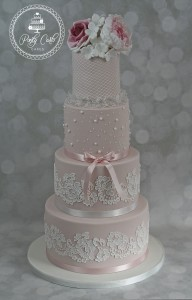 Textured Pink Vintage Rose,Peony & Lace 4 Tier Wedding Cake.