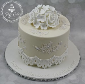 Vintage Ivory Rose Hydrangea Lace Anniversary Cake With Crystals.