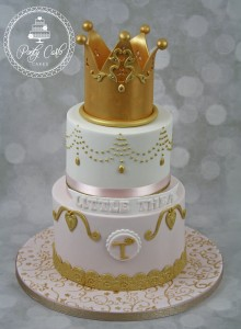 Pink And Gold 2 Tier Crown Birthday Cake.