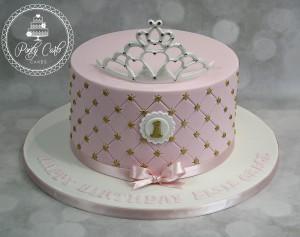 Pink & Gold Crystal Tiara 1st Birthday Cake.