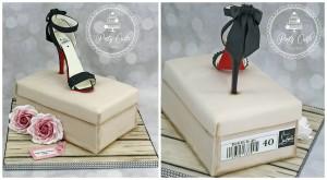 Louboutin Crystal Shoe & Shoebox Birthday Cake.