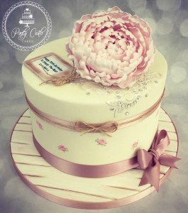 Vintage Peony And Handpainted Lace Birthday Cake.