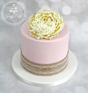 Rustic Ivory Peony Small Wedding Cake.