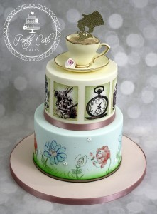 Alice In Wonderland 2 Tier Handpainted Birthday Cake.