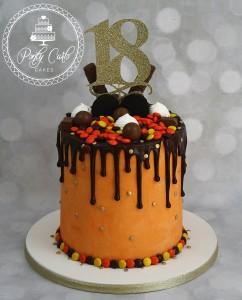 Orange Ganached Chocolate Drip Cake Birthday Cake.