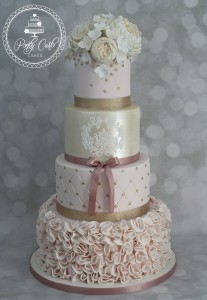 Vintage Blush Pink & Gold 4 Tier Ruffled Baroque Wedding Cake With Peonies & Roses.