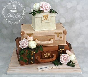 3 Tier Vintage Suitcase Wedding Cake With Blush Pink Roses,Peonies,Carnations And Ivy.