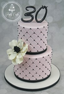 Pink And Black 30th Birthday Cake With Magnolia.