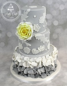 Ombre Ruffled 3 Tier Wedding Cake With Lace and Graduated Lemon Rose.