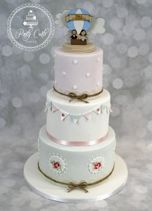 Handpainted Cath Kidston Inspired 3 Tier Wedding Cake With Bunting.
