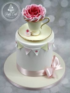 Rose Teacup Birthday Cake With Handpainted Bunting.