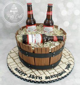 Budweiser Beer Barrel Birthday Cake.