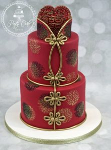 Chinese Jacket 2 Tier Double Happiness Birthday Cake.