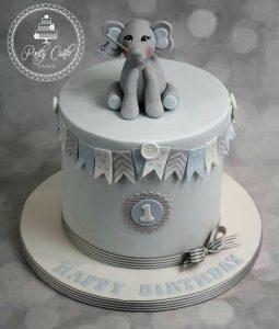 Baby Elephant Birthday Cake With Bunting.