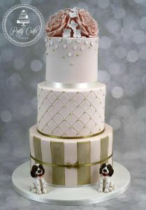 3 Tier Blush And Gold Wedding Cake With David Austin Roses And Spaniels.