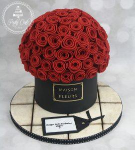 Maison Des Fleurs Basket Of Red Roses Birthday Cake.