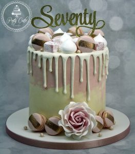 Pink Ombre Chocolate Drip Cake With Handmade Macarons And Turkish Delight.