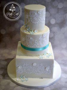 3 Tier Lace Stencilled Wedding Cake.