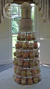 Cupcake Tower With 2 Tier Wedding Cake.