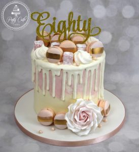 Chocolate Drip Birthday Cake With Handmade Gold Brushed Macarons And Turkish Delight.