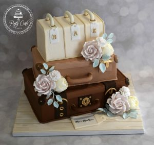 Stack Of Suitcases Vintage Wedding Cake.